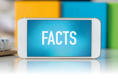 Smart phone which displaying Facts