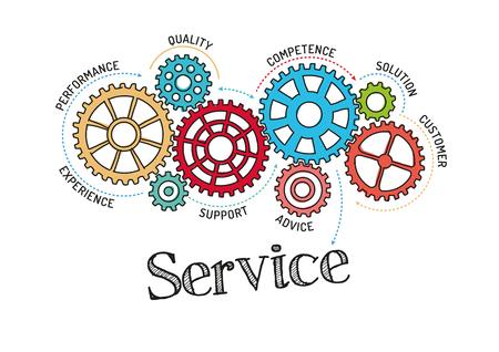 Illustration pour Gears and Service Mechanism - image libre de droit