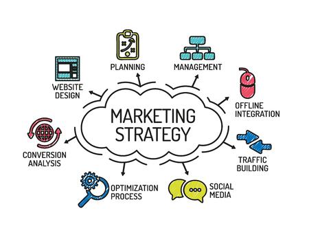 Vektor für Marketing Strategy. Chart with keywords and icons. Sketch - Lizenzfreies Bild