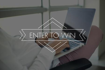 Photo pour People Using Laptop and ENTER TO WIN Concept - image libre de droit