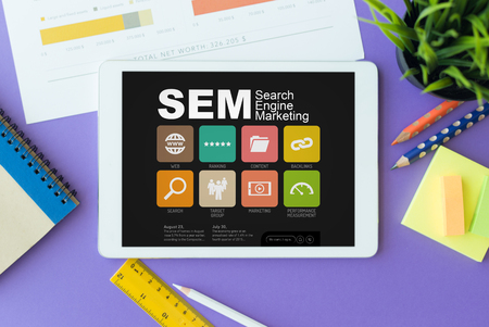 SEM Search Engine Marketing Concept on Tablet PC Screen