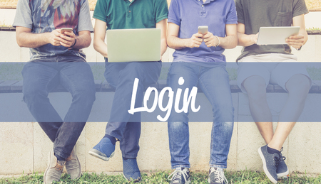 Group of people using mobile devices and LOGIN concept