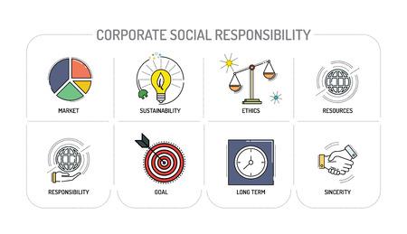 Ilustración de CORPORATE SOCIAL RESPONSIBILITY - Line icons Concept - Imagen libre de derechos