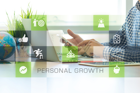 Photo pour Businessman working in office and Personal Growth icons concept - image libre de droit