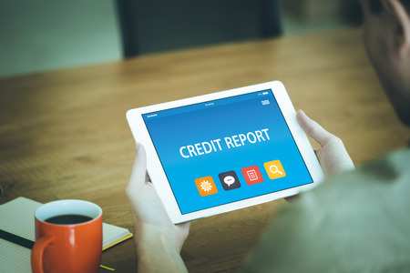 CREDIT REPORT CONCEPT ON TABLET PC SCREEN