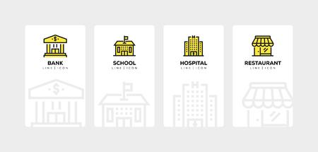 Illustration pour BUILDINGS LINE ICON SET - image libre de droit