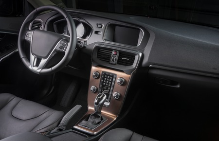 Interior of a modern automobile showing the dashboard