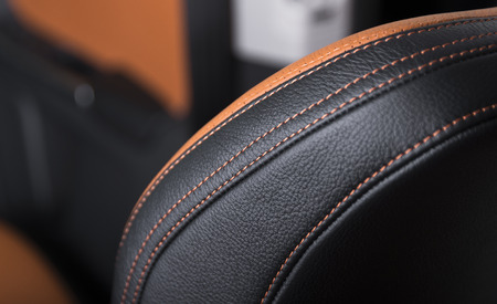Photo pour Modern sport car  black leather interior. Part of  leather car seat details. - image libre de droit