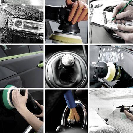 Photo pour Car interior detailing washing maintaince collage - image libre de droit