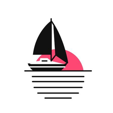 Illustration pour Icon sunset sailboat vibrant colors pink and black. Concept summer boat sunrise - image libre de droit