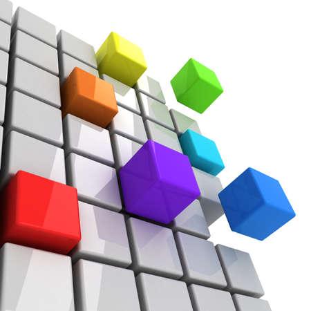 colorful cubes getting detached spectrum concept