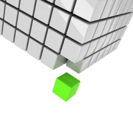 green cube getting detached concept