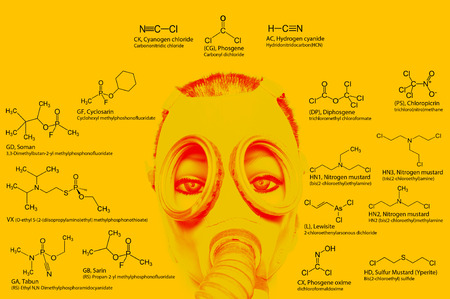 Chemical weapons chemical structures: sarin tabun soman VX lewisite mustard gas tear gas chlorine etc. Atoms represented as conventionally colored circles.