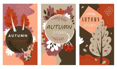 Illustration for Autumn Sale Stories Set Hand Drawn Illustration - Royalty Free Image