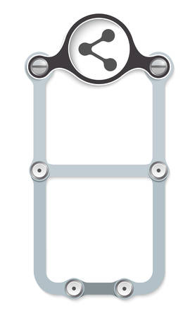vector vertical frame with screws and share icon