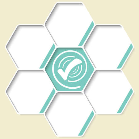 Set of five hexagons for your text and a check box