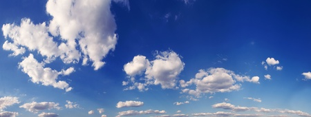 Photo for panorama blue sky is covered by white clouds  - Royalty Free Image