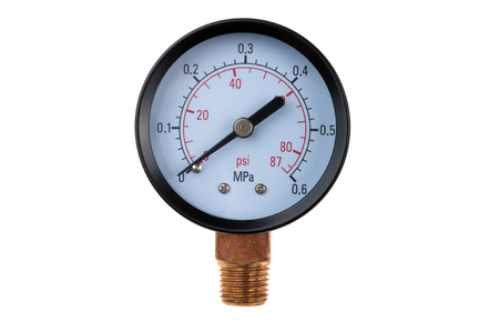 Photo for radial pressure gauge isolated on white background - Royalty Free Image