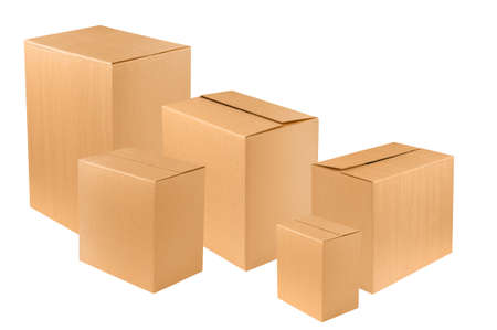 Photo for set of new blank brown cardboard box - Royalty Free Image