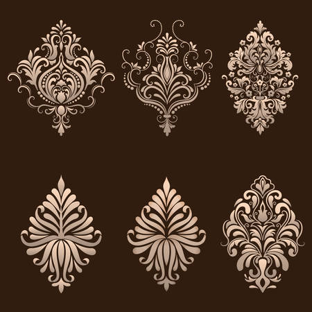 Illustration pour Vector set of damask ornamental elements. - image libre de droit