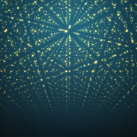 Abstract vector background. Matrix of glowing stars with illusion of depth and perspective.のイラスト素材