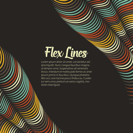 Illustration pour Vector warped lines background. Flexible stripes twisted as silk forming volumetric folds. Colorful stripes with variable width. Modern abstract creative backdrop. - image libre de droit