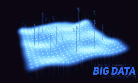 Big data blue plot visualization. Futuristic infographic. Information aesthetic design. Visual data complexity. Complex data threads graphic visualization. Social network. Abstract data graph.