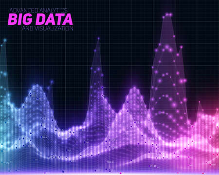 Vector abstract colorful big data visualization. Futuristic infographics aesthetic design. Visual information complexity. Intricate data threads graphic. Social network, business analytics