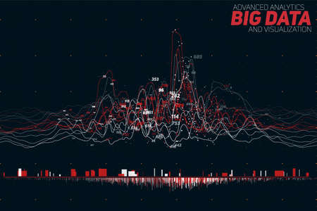 Vector abstract colorful financial big data graph visualization. Futuristic infographics aesthetic design. Visual information complexity.