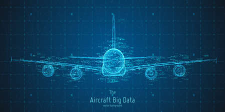 Ilustración de Abstract vector plane big data graph visualization. Aircraft infographics aesthetic design, visual information complexity. Intricate engineering data scheme, travel, tourism, transport analytics. - Imagen libre de derechos