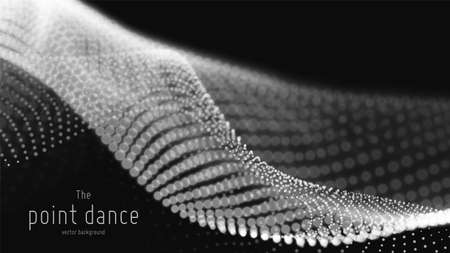 Vector abstract monochrome particle wave, points array, shallow depth of field. Futuristic illustration. Technology digital splash, data points explosion. Point dance waveform. Cyber UI, HUD element.