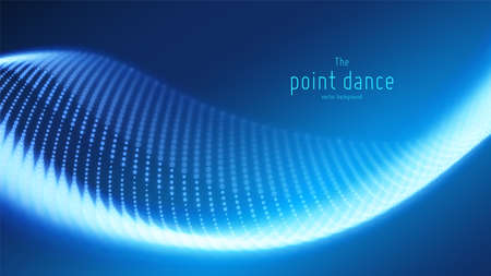 Vector abstract blue particle wave, points array, shallow depth of field. Futuristic illustration. Technology digital splash or explosion of data points. Point dance waveform. Cyber UI, HUD element.
