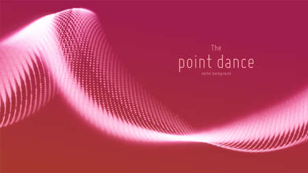 Vector abstract red particle wave, points array, shallow depth of field. Futuristic illustration. Technology digital splash or explosion of data points. Point dance waveform. Cyber UI, HUD element