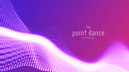 Vector abstract violet particle wave, points array, shallow depth of field. Futuristic illustration. Technology digital splash or explosion of data points. Point dance waveform. Cyber UI, HUD element