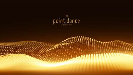 Vector abstract golden particle wave, points array, shallow depth of field. Futuristic illustration. Technology digital splash or explosion of data points. Point dance waveform. Cyber UI, HUD element