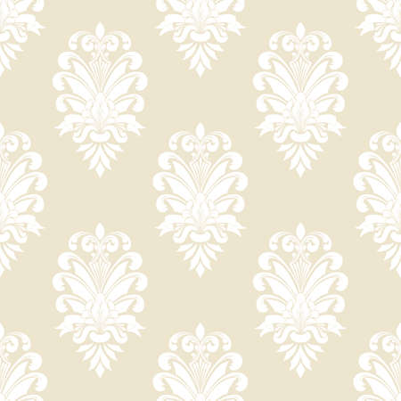 Illustration pour Vector damask seamless pattern background. Classical luxury old fashioned damask ornament, royal victorian seamless texture for wallpapers, textile, wrapping. Exquisite floral baroque template - image libre de droit
