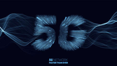 Illustration pour Vector abstract 5G new wireless internet connection background. Global network high speed network. 5G symbol construted with glowing lines with a lightspeed burst on background - image libre de droit