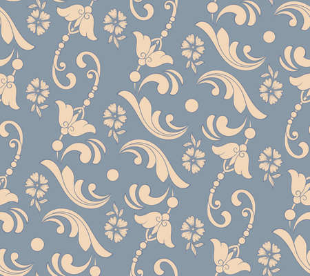 Illustration pour Vector flower seamless pattern element. Elegant texture for backgrounds. Classical luxury old fashioned floral ornament, seamless texture for wallpapers, textile, wrapping - image libre de droit