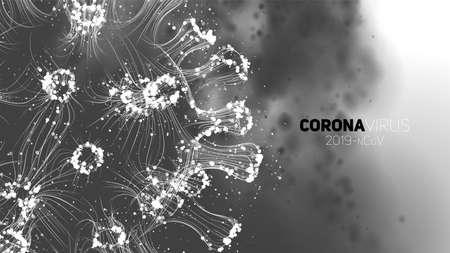 Photo pour Vector conceptual Coronavirus illustration. 3d virus form on a abstract background. Pathogen visualization. Design for banner information, flyer, poster, etc - image libre de droit