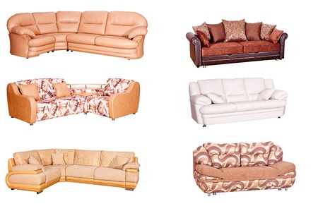 Variants of various sofas of bright colors on a white background