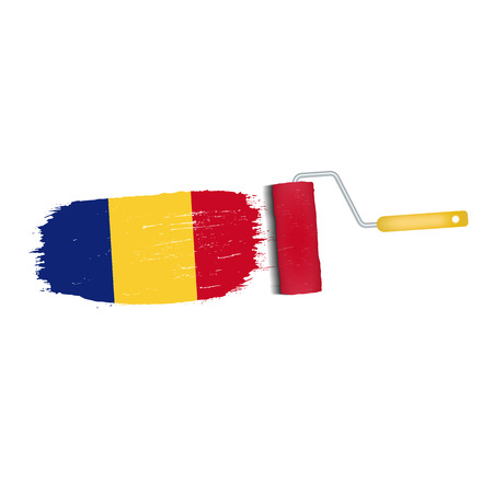 Brush stroke of Romania national flag icon.