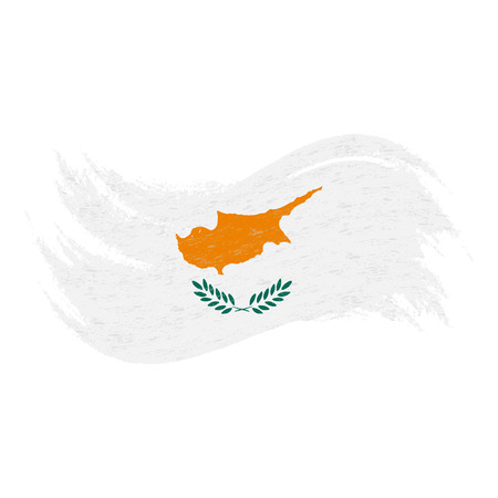 National Flag Of Cyprus, Designed Using Brush Strokes,Isolated On A White Background. Vector Illustration. Use For Brochures, Printed Materials, Logos, Independence Day.
