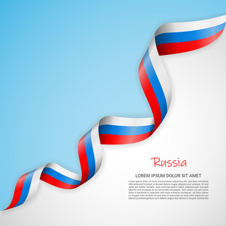 Vector banner in white and blue colors and waving ribbon with flag of Russia. Template for poster design, brochures, printed materials, logos, independence day. National flags