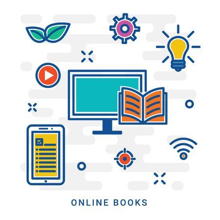 Online library, online books. Flat line design website banner of e-learning, e-book, online education. Modern vector illustration for web design, marketing and print material. Eps 10