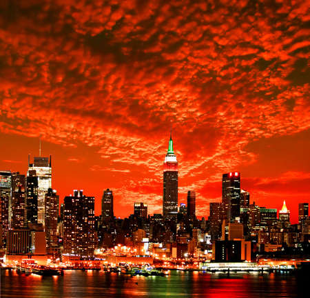 The New York City midtown skyline at sunrise