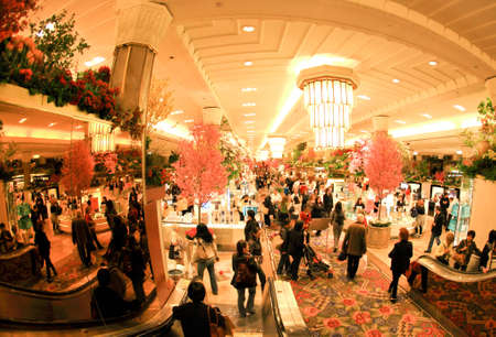 New York City, April 17,2009: The famous Macy's Flower Show in the department store at the Herald Square in midtown Manhattan.