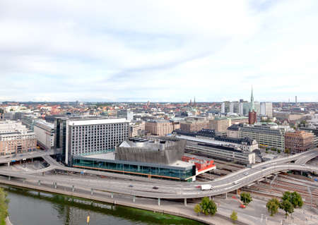 Aerial view of the Stockholm Central Train Station form top of City Hall tower
