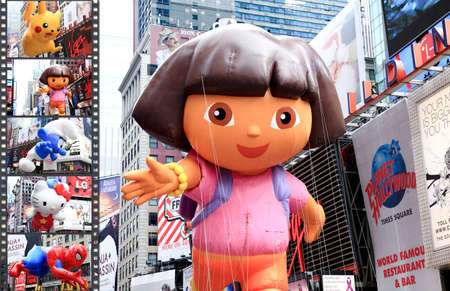 MANHATTAN - NOVEMBER 26 : A Dora the Explorer balloon passing Times Square at the Macy's Thanksgiving Day Parade November 26, 2009 in Manhattan.