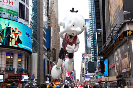 MANHATTAN - NOVEMBER 25 : Wimpy kid character balloon passing Times Square at the Macy's Thanksgiving Day Parade November 25, 2010 in Manhattan.
