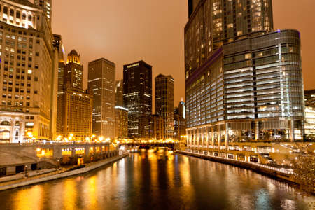 The high-rise buildings along Chicago River at Night